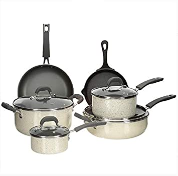 The Pioneer Woman Vintage Speckle 10-piece Non-stick Pre-seasoned Cookware Set, Linen Dishwasher Safe