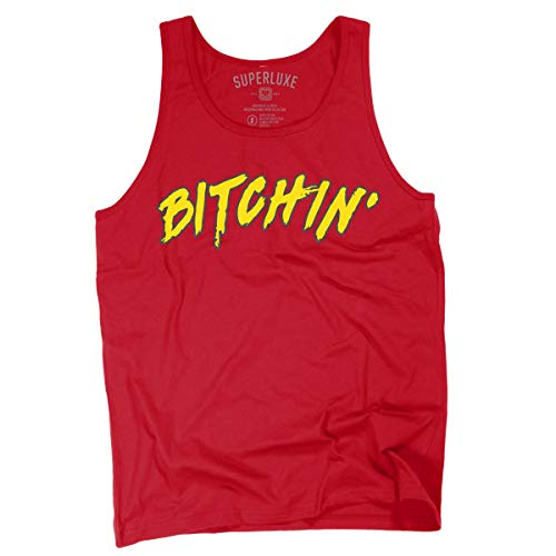 Superluxe Clothing Mens/Unisex Bitchin Funny 80s Wrestling Athletic Tank Top, Small, ()