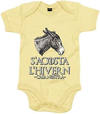 Body bebé parodia Joc de Trons S Acosta L Hivern Casa Nostra burro català - Amarillo, 6-12 meses: Amazon.es: Bebé