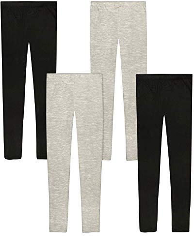 'Only Girls Butter-Soft-Touch Printed Yummy Leggings (4-Pack) (Black/Heather Grey, 5)'