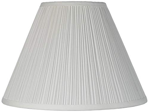 Vintage Empire Lamp Shade with Harp Pleated Cone White Fabric 6.5x15x11 (Spider) - Brentwood