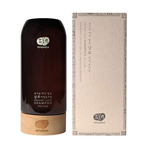 WHAMISA Organic Seeds Shampoo Oily Scalp - 27 Pflanzenstoffe gegen Fettige Haare und Schuppen - für eine Gesunde Kopfhaut - Ohne Silikon Sulfate Parabene - Koreanische Naturkosmetik 500ml