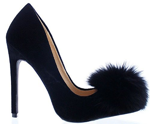 Liliana Affair Velvet Pointy Toe Stiletto High Heel Fur Pom Slip On Pump Slide Shoe