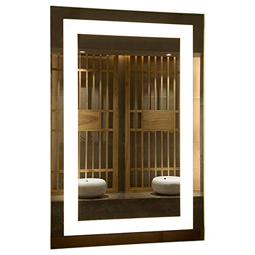 Mirrors and More LED Backlit Wall Mirror | Frameless Polished Edge Silver Backing with Rectangle Illuminated Frosted Strip | Vanity | Bathroom | Makeup | 24