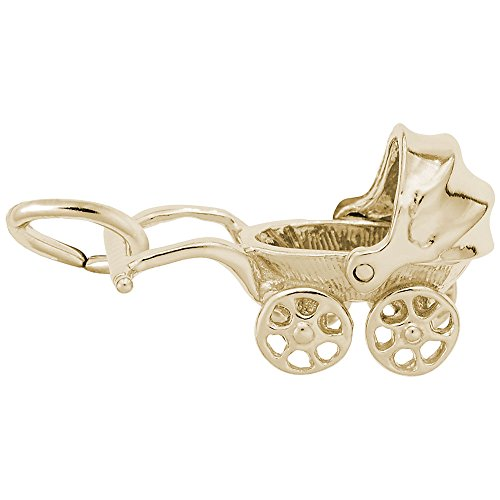 14k Gold Carriage - Baby Carriage Charm In 14k Yellow Gold, Charms for Bracelets and Necklaces