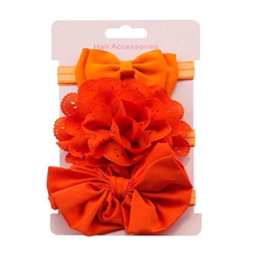 Clearance! 3pcs Baby's Headbands Girl's Cute Hair Bows Hair Bands Newborn Headband (Orange) by Bookear (Image #1)