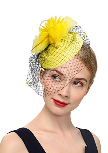 - Cizoe Fascinator Hair Clip Pillbox Hat Bowler Feather Flower Veil Wedding Party Hat Tea Hat(1-Yellow)