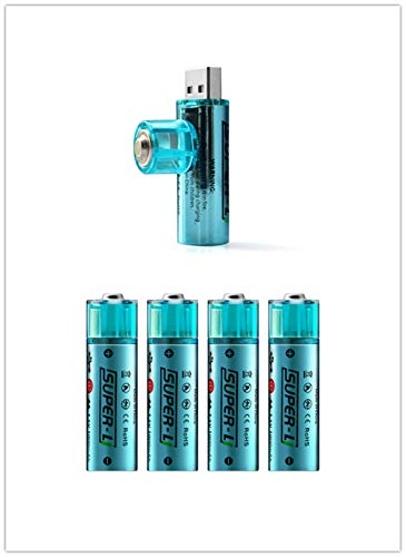 HOMEME AA Batteries-USB Rechargeable Double A Lithium Batteries-Li-ion Battery Cell-1.5V/1000mAH (4-Pack)-Not NI-MH/NI-CD/Alkaline Batteries-ECO-Friendly and Recyclable-No Memory Effect