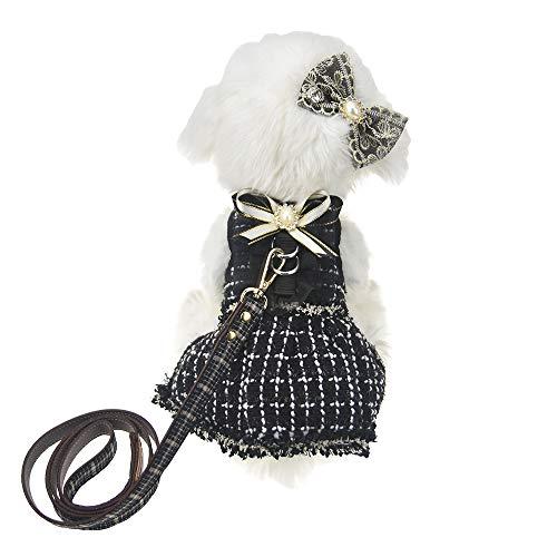 FLAdorepet 3Pcs Dog Pet Cat Dress Harness and Leash Set Small Dog Clothes Shirt Costume Dog Skirt,Dress,Hair Bow (M, Black)]()