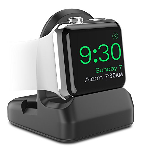 MoKo Apple Watch Stand, TPU Charging Station Dock, Compatible with Nightstand Mode, Fit Apple Watch Series 3 2017 / Series 2 2016 [38mm & 42mm] - Black from MoKo