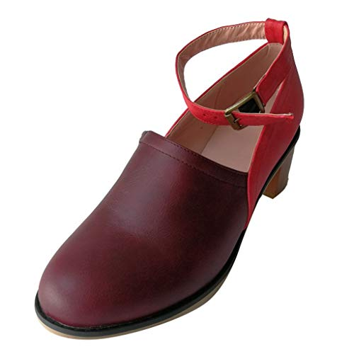 TnaIolral Ladies Sandals Ankle Strap Round High Heel Single Boot Clogs Casual Shoes (US:8.5, Wine)