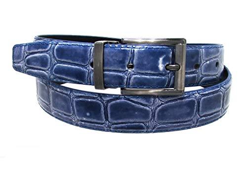 RDumani Men's Belt Blue Alligator Crocodile Embossed Leather 30mm 1.25