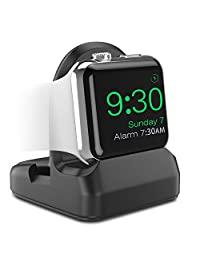 MoKo Apple Watch Stand, TPU Charging Station Dock, Compatible with Nightstand Mode, Fit Apple Watch Series 3 2017 / Series 2 2016 [38mm & 42mm] - Black