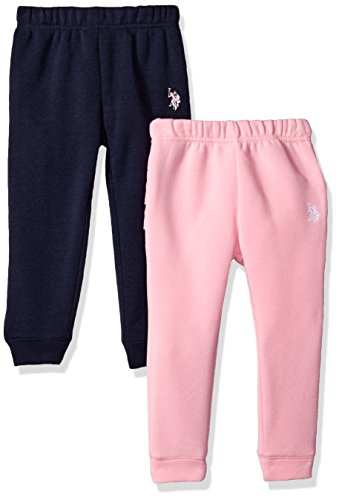 U.S. Polo Assn. Girls' Toddler 2 Jogger, Pack with Light Grey Prism Pink, 3T