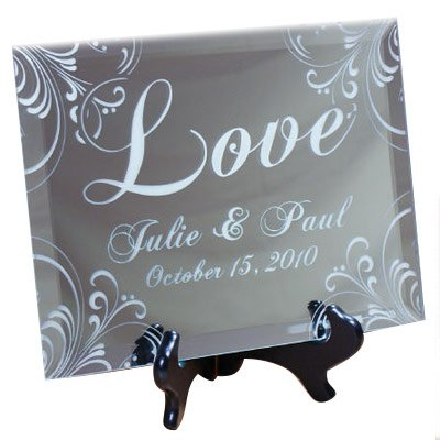 Clear Glass Engraved (Personalized Love Keepsake Mirror Plaque, 10