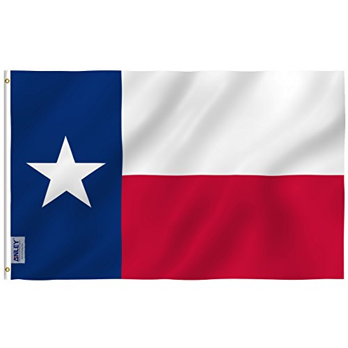 Anley Everstrong Series 3x5 Foot Texas State Flag - Rip Proof Technology for Longest Lasting - 300 Denier Tough Textile - Texas TX Flags with Brass Grommets 3 X 5 Ft