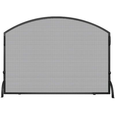 UniFlame S-1039 Single Panel Wrought Iron Arch Top Screen, Large, Black