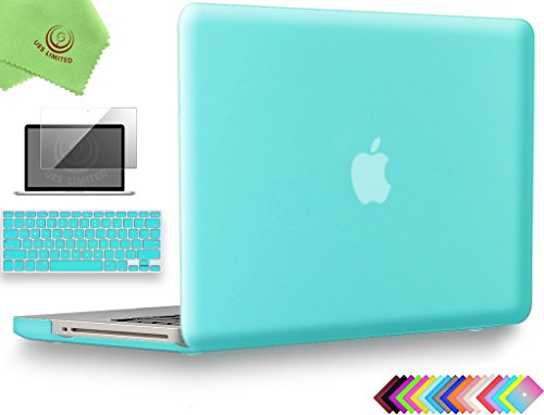 "UESWILL 3in1 Smooth Soft-Touch Matte Hard Shell Case Cover for MacBook Pro 13"" with CD-ROM (Non-Retina)(Model:A1278) + Keyboard Cover and Screen Protector + Microfibre Cleaning Cloth, Turquoise"