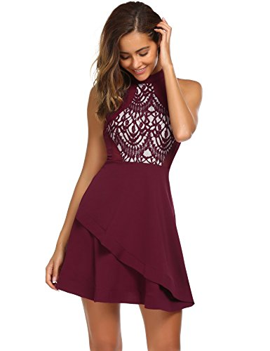 Teen Red M&m Party Dress (ACEVOG Women Sleeveless Layered Cocktail Dress, Wine Red, M)