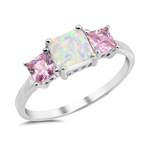 Square White Simulated Opal Pink CZ Cute Ring New .925 Sterling Silver Band Size 9