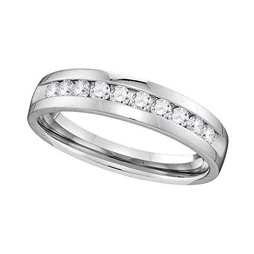 Dazzlingrock Collection 14kt White Gold Womens Round Channel-set Diamond Single Row Wedding Band 1/2 Cttw ()