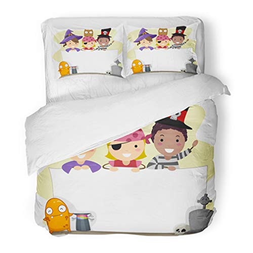 Emvency Bedding Duvet Cover Set King Size (1 Duvet Cover + 2 Pillowcase) Costume with Halloween Pirate Boy Cartoon Cartoon People Children Clip Hotel Quality Wrinkle and Stain Resistant -