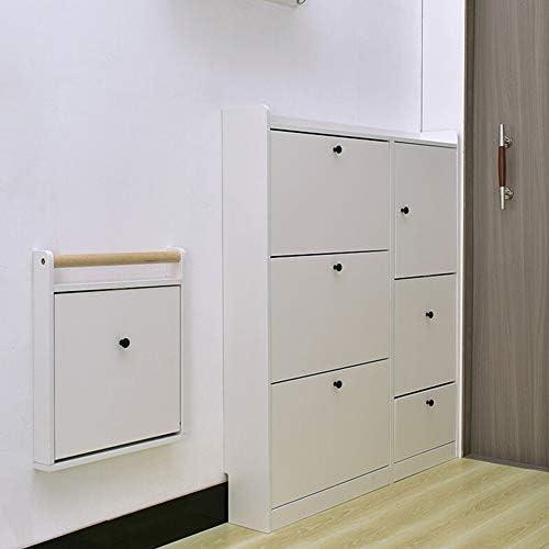 スツールレストシート 折りたたみ靴の変更スツールウォールチェアフットスツールドアスツール目に見えない廊下靴スツールホワイトウォールマウント 多機能チェア (Color : White, Size : 42.8x6x51cm)