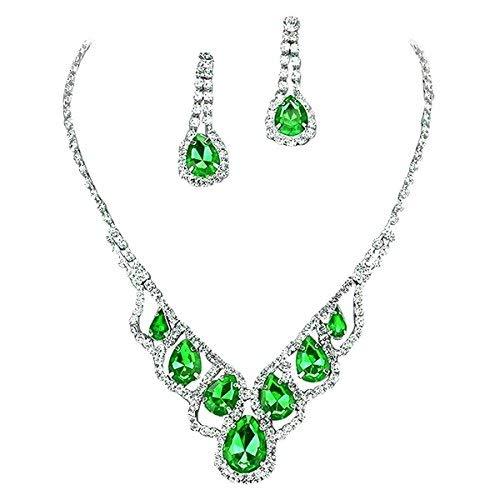 Purplebox Fashion Jewelry Apple Green Droplets Rhinestone Prom Necklace Set