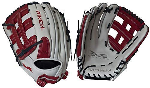 Miken Pro Series Slowpitch Softball Glove, 14 inch, White/Red, Right Hand Throw (Renewed)