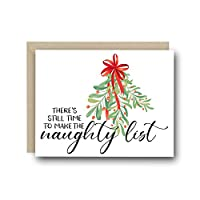 Naughty Christmas Greeting Card - There's Still Time To Make The Naughty List - Funny Christmas Card for Her, Holiday Card
