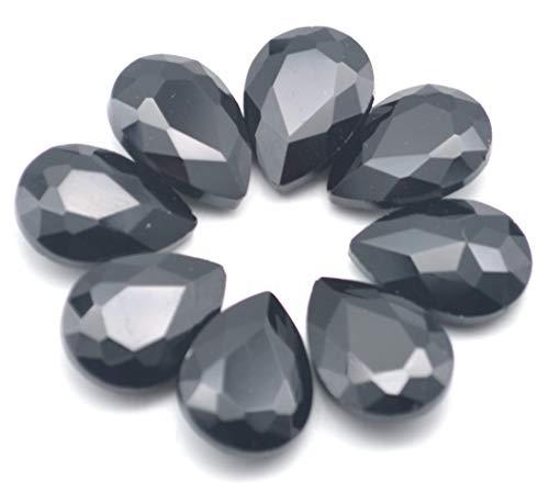 Catotrem Mixed Color Teardrop Shape Sew on Glass Crystal Diamante Rhinestone Craft 50pcs, 13x18mm(Black-50pcs) ()
