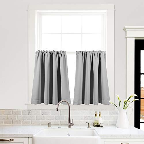 (MYSKY HOME - Tier Curtains 36 Inch Length - Grey Rod Pocket Café Curtains for Kitchen - 42