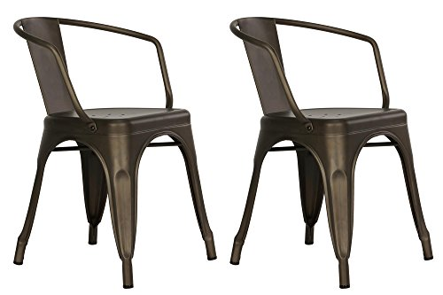 DHP Elise Metal Dining Chair (Set of 2), Antique Copper