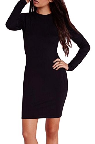 Black Neck Slim Solid Color Long Bodycon Crew Coolred Sleeve Women Dress CqwvxtO