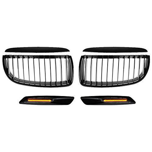 Glossy Black Front Hood Kidney Grille + Matching Black Side Marker Light Compatible with E90 3-Series 325 328 330 335 4-Door Pre-Facelift