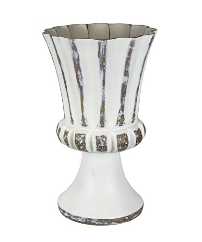 Sagebrook Home 12318-01 Decorative Resin Footed Urn, White/Brown Polyresin, 9.5 x 9.5 x 15.75 Inches