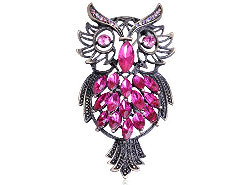 Marquise Vintage Brooch - Alilang Vintage Inspired Repro Pink Crystal Rhinestone Marquise Feather Owl Fashion Pin Brooch