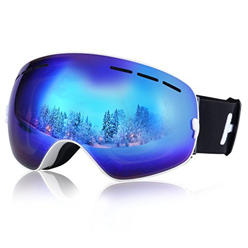 HiCool Ski Goggles, Pro Ski Snowboard Skating Goggle with Mirrored Lens Anti-fog UV Protection Detachable Wide Spherical Goggle Lens (Blue/White)