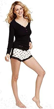 Betsey Johnson Women's Rib and Flannel Boxer Short Set, Royal Dot Gardenia, X-Small