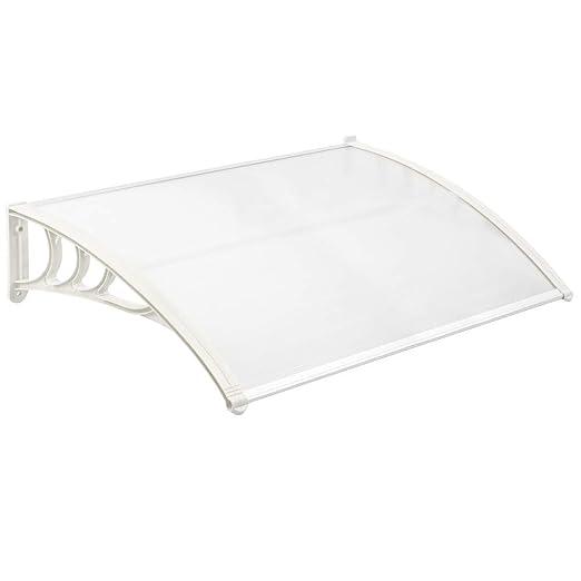Tejadillo de protecci/ón 150x90 cm Transparente Marquesina para Puertas y Ventanas con Soporte Blanco PrimeMatik
