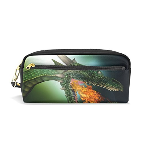 Green Dragon Leather Student Pencil Case Cosmetic Bag Pen Makeup Pouch for Girl ()