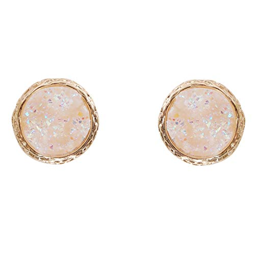 Humble Chic Simulated Druzy Studs - Gold-Tone Plated Round Circle Simple Minimalist Crystal Post Ear Stud Earrings for Women, 16mm Simulated Opal, Opalescent, Simulated Moonstone, 0.63 inch