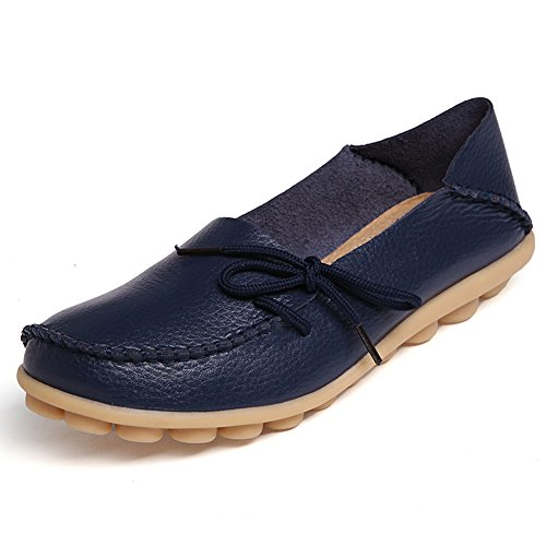 Temofon Women's Leather Loafers Casual Flats Driving Moccasins Indoor Shoes Slip-On Slippers Dark Blue 2