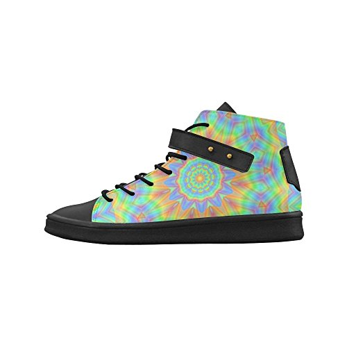D-Story Round Toe High Top Shoes Rainbow Energy Mandala Womens Sneakers YmEEy4QPB