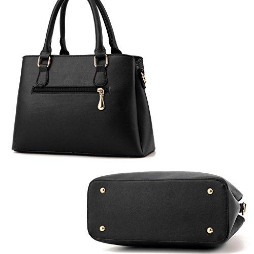 Leno Bolso de mujer de la versión coreana del bolso de moda simple Shoulder Messenger Street work Leisure Travel (Color : WineRed) Negro