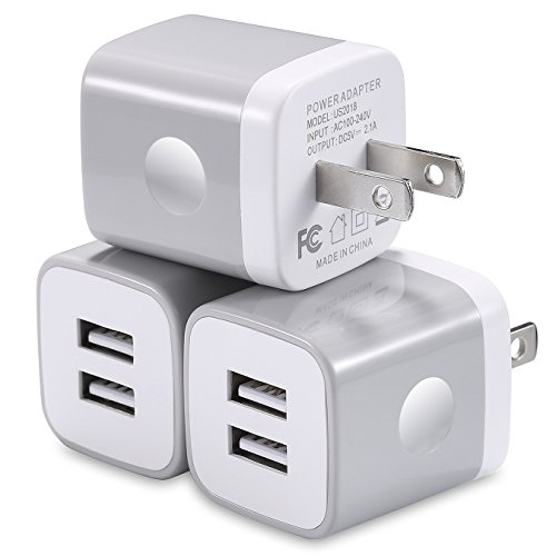 USB Wall Charger 3-Pack, WITPRO 2.1A/5V Smart Dual Port USB Plug Power Adapter Charging Block Compatible with iPhone X/8/7/6S Plus SE/5C, Samsung, HTC, LG, Huawei, Moto G Z, More (Grey)