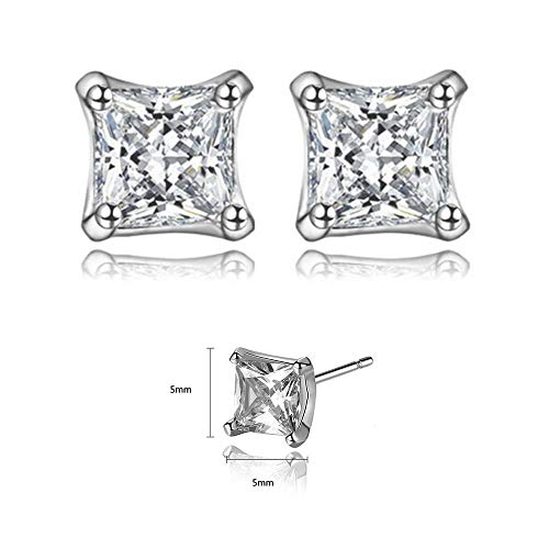 (Platinum Plated Princess Cut Cubic Zirconia Everyday Stud Earrings, CZ Fashion Studs for Girls, CZ earrings, Fashion Earrings by CRYSTAL LEMON)