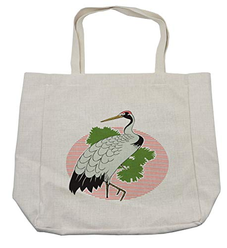 Lunarable Crane Shopping Bag, Japanese Grus Bird on a Background of Striped Sunset Figure and Green Leaves Asian, Eco-Friendly Reusable Bag for Groceries Beach Travel School & More, -