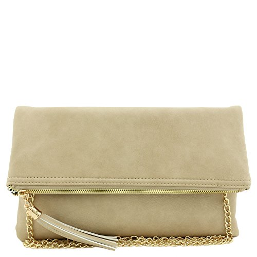 Tassel Accent Flapover Clutch Purse with Chain Strap Wheat by FashionPuzzle