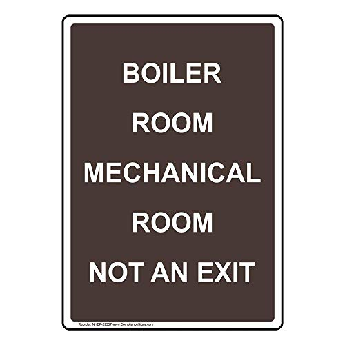 Boiler Room Mechanical Room Not an Exit Label Decal, 5x3.5 in. 4-Pack Vinyl for Industrial Notices Enter/Exit by ComplianceSigns